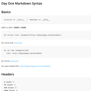 DayOne Markdown Syntax